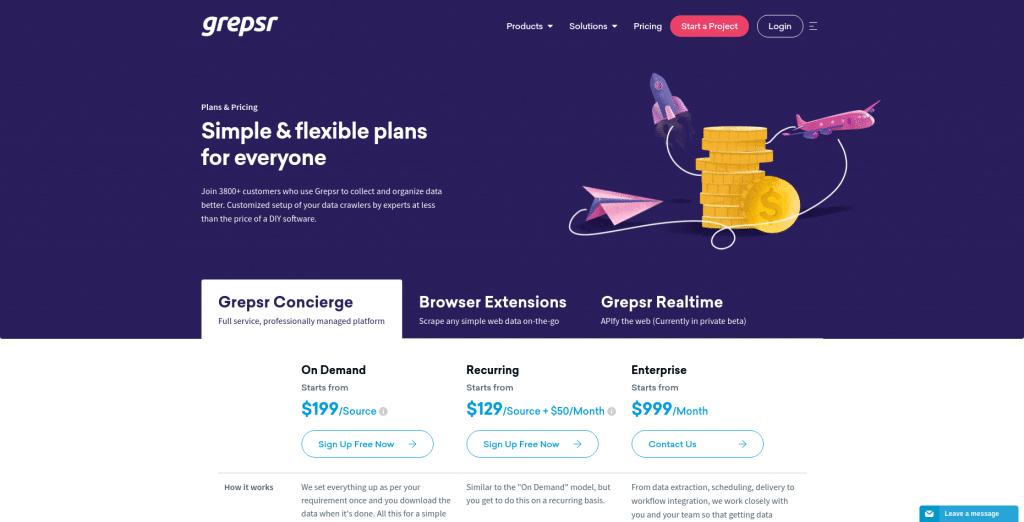Grepsr Plans & Pricing